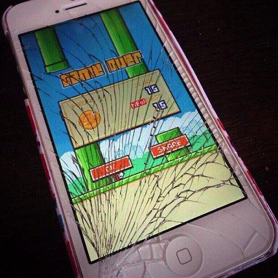 Broken iphone playing Flappy bird